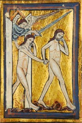 Adam and Eve banished from Paradise, from a book of Hours