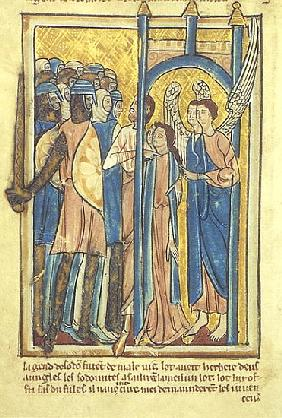 Lot offering his daughters to the inhabitants of Sodom, from a book of Bible Pictures, c.1250