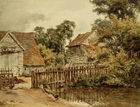 Farmyard with pond