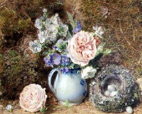 Still Life of Flowers and Nest