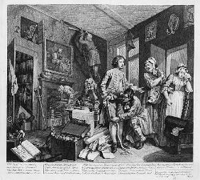 The Young Heir Takes Possession of the Miser''s Effects, plate I from ''A Rake''s Progress''