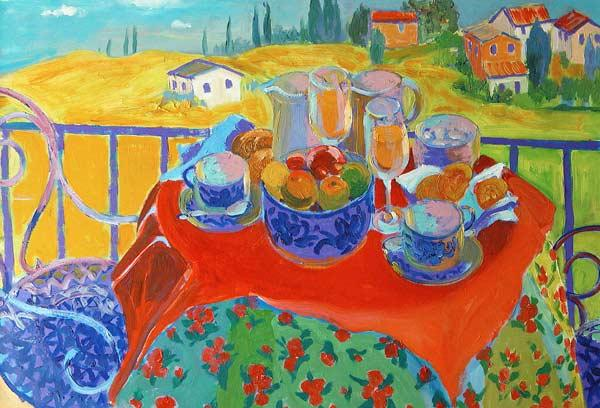 Tuscan Terrace (oil on board)