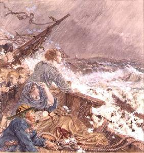 Grace Darling and her father saving the shipwrecked crew